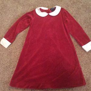 RALPH LAUREN red velvet dress button up back